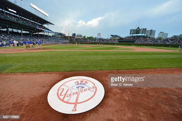 The ondeck circle displays the New York Yankees logo before the game against the Chicago Cubs at Wrigley Field on May 20 2014 in Chicago Illinois The...