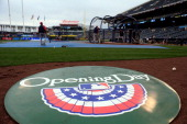 The ondeck cricle displays an opening day logoprior to the game between the Minnesota Twins and the Kansas City Royals home opener at Kauffman...