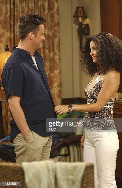 FRIENDS 'The One After Joey And Rachel Kiss' Episode 1 Aired Pictured Matthew Perry as Chandler Bing Courteney Cox as Monica GellerBing Photo by NBCU...