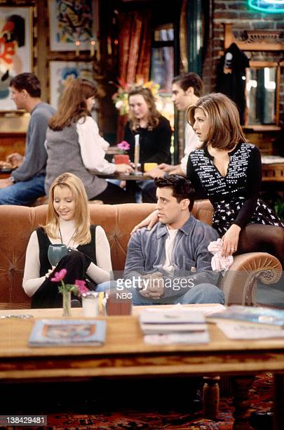 FRIENDS 'The One After the Superbowl' Episode 12 Pictured Lisa Kudrow as Phoebe Buffay Jennifer Aniston as Rachel Green Matt LeBlanc as Joey Tribbiani
