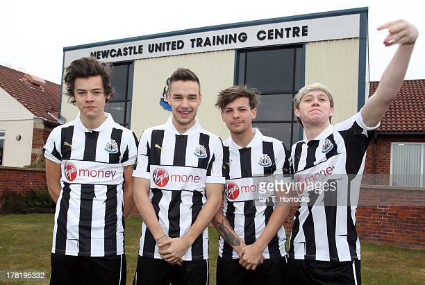 The One Direction band members LR Harry Styles Liam Payne Louis Tomlinson and Niall Horan during a visit by the band One Direction to Newcastle...