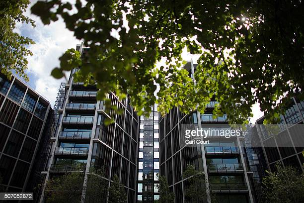 The One Hyde Park apartment building containing London's most expensive apartments is pictured on August 21 2015 in London England Income inequality...