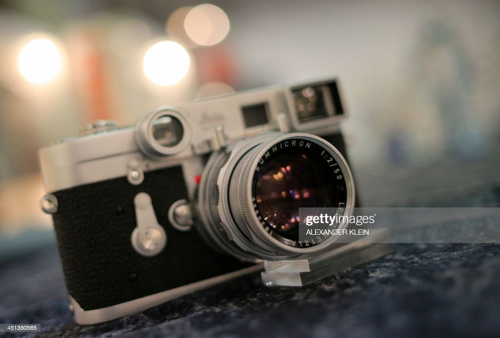 The one millionth Leica camera produced, a 'Leica M3' dated from 1960, with the matching serial number (with a starting price of 200,000 Euros) is pictured ahead of an auction in Vienna on November 21, 2013. The Westlicht Gallery in Vienna, will hold a photografic auction on November 23 of several vintage cameras. AFP PHOTO / ALEXANDER KLEIN