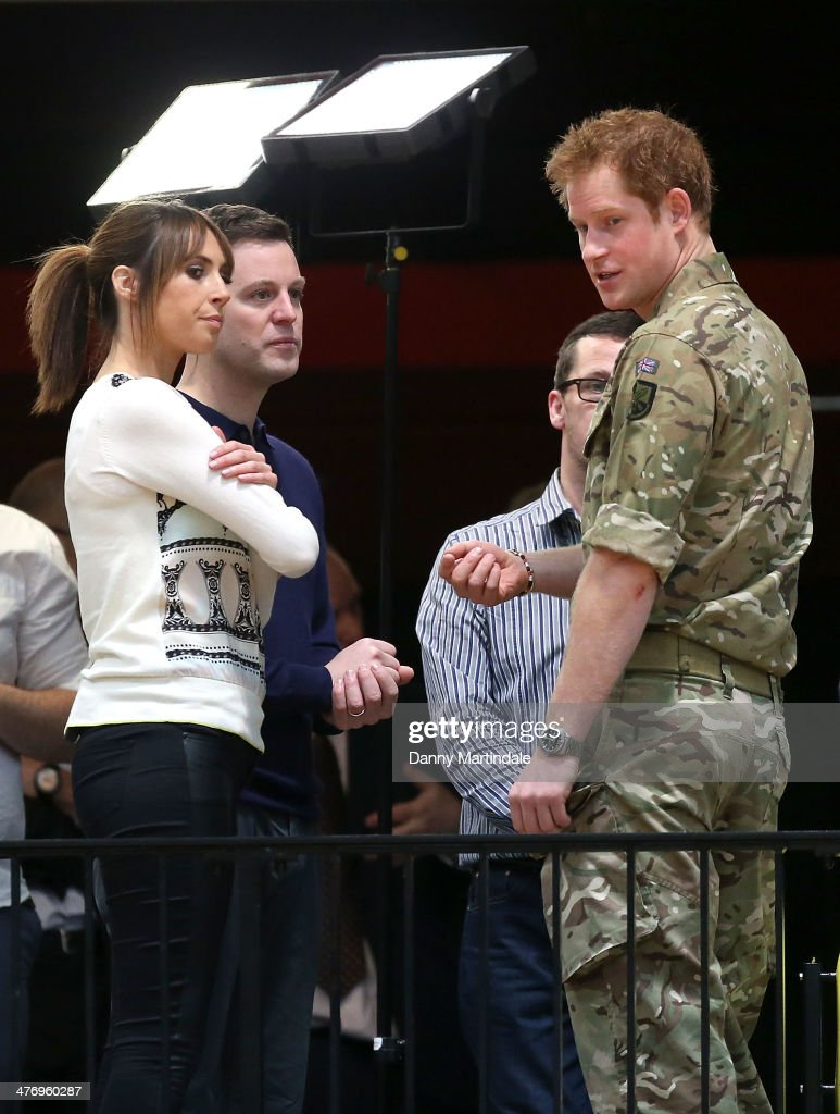 The One Show presenters Alex Jones (L) and Matt Baker (C) interview Prince Harry (R) at the lunch of the new international sporting event for wounded, injured and sick service personnel, the Invictus Games in the Copper Box at Queen Elizabeth Olympic Park on March 6, 2014 in London, England.