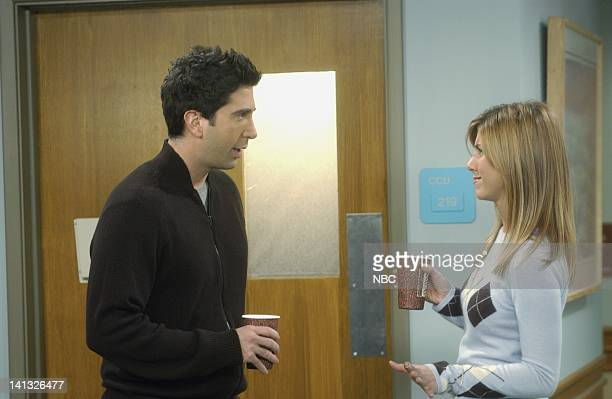 FRIENDS 'The One Where Joey Speaks French' Episode 13 Aired 2/19/2004 Pictured David Schwimmer as Dr Ross Geller Jennifer Aniston as Rachel Green...