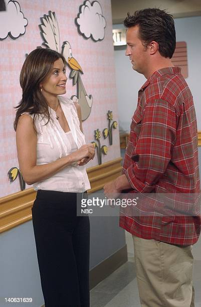 FRIENDS 'The One Where Rachel Has A Baby Part 1 Episode 23 Aired 5/16/2002 Pictured Courteney Cox as Monica GellerBing Matthew Perry as Chandler Bing...