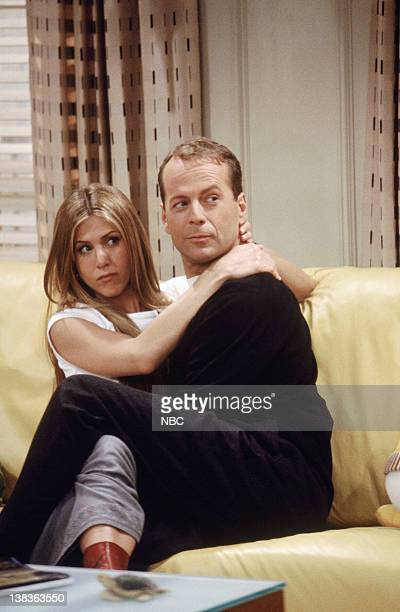 FRIENDS 'The One Where Ross Meets Elizabeth's Dad' Episode 21 Pictured Jennifer Aniston as Rachel Green Bruce Willis as Paul Stevens