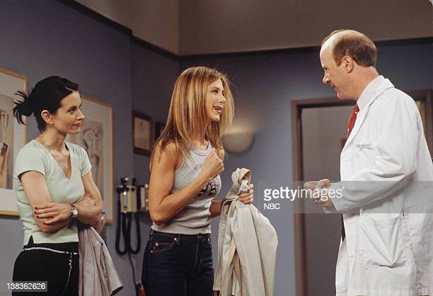 FRIENDS 'The One with Joey's Big Break' Episode 22 Pictured Courteney Cox as Monica Geller Jennifer Aniston as Rachel Green Michael Monks as Dr Miller