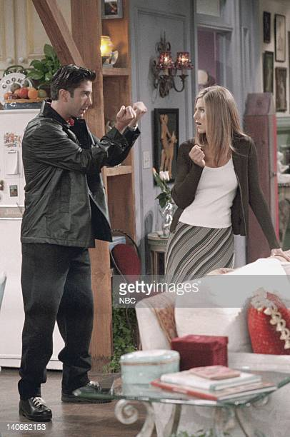 FRIENDS 'The One With Joey's New Girlfriend' Episode 405 Aired Pictured David Schwimmer as Ross Geller Jennifer Aniston as Rachel Green