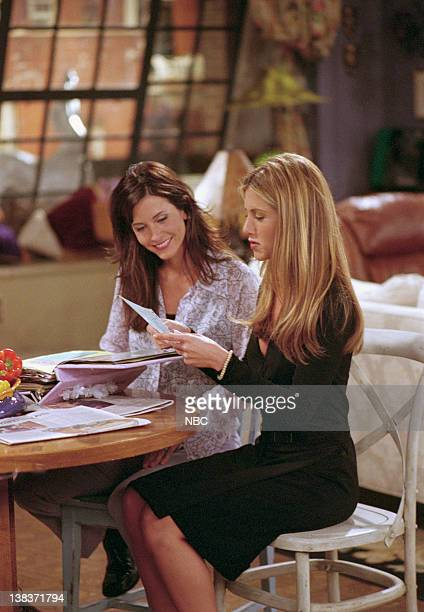 FRIENDS 'The One with Rachel's Book' Episode 2 Aired Pictured Courteney Cox as Monica Geller Jennifer Aniston as Rachel Green