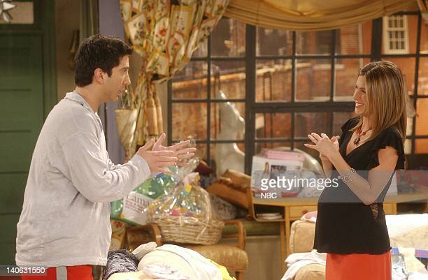 FRIENDS 'The One With The Baby Shower' Episode 20 Aired 4/25/2002 Pictured David Schwimmer as Ross Geller Jennifer Aniston as Rachel Green Photo by...