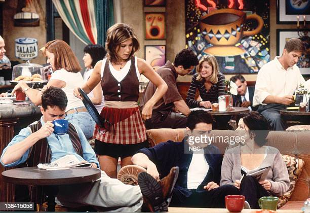 FRIENDS 'The One With the Breast Milk' Episode 2 Pictured Matthew Perry as Chandler Bing Jennifer Aniston as Rachel Green Matt Le Blanc as Joey...