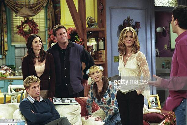 FRIENDS 'The One With The Rumor' Episode 9 Aired Pictured Brad Pitt as Will Colbert Courteney Cox as Monica GellerBing Matthew Perry as Chandler Bing...
