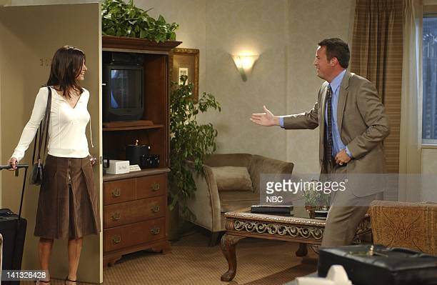 FRIENDS 'The One With The Sharks' Episode 4 Aired Pictured Courteney Cox as Monica GellerBing Matthew Perry as Chandler Bing Photo by Danny Feld/NBCU...