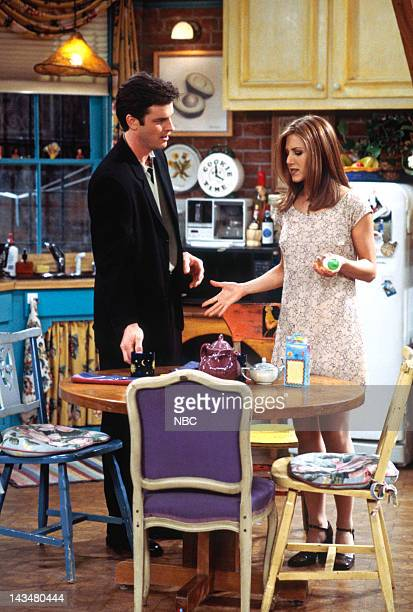 FRIENDS 'The One with the Tiny TShirt' Episode 19 Pictured Steven Eckholdt as Mark Robinson Jennifer Aniston as Rachel Green