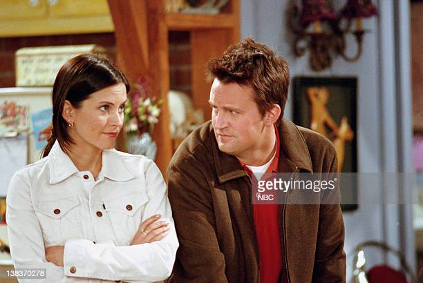 FRIENDS 'The One with the Truth About London' Episode 16 Aired 2/22/2001 Pictured Courteney Cox as Monica Geller Matthew Perry as Chandler Bing