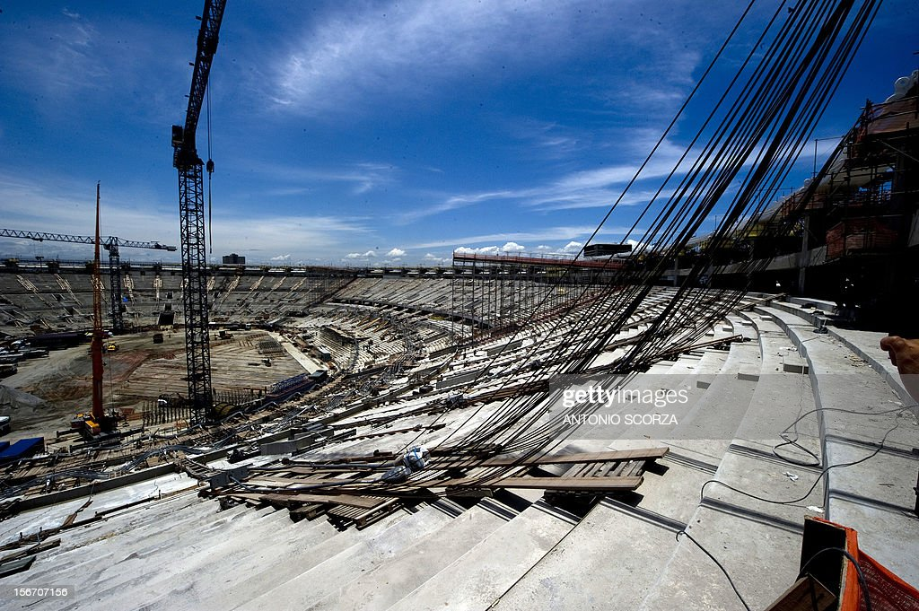 The ongoing works at Maracana stadium during a tour for journalists organized by the Rio 2016 Committee on November 19, 2012 in Rio De Janeiro, Brazil. AFP PHOTO / ANTONIO SCORZA