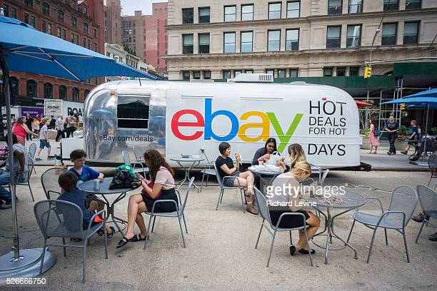 The online market eBay promotes their 'Hot Deals for Hot Days' promotion in Flatiron Plaza in New York on Tuesday July 7 2015 EBay reported fourth...