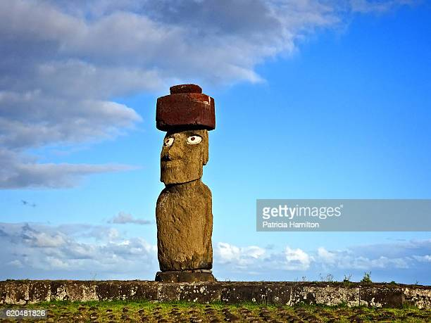 The only moai statue with restored eyes, Ko Te Riku