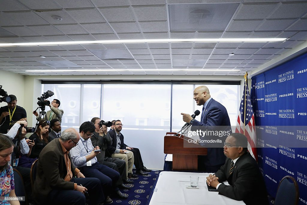 The only two Muslim members of Congres, Rep. Keith Ellison (D-MN) (R) and Rep. Andre Carson (D-IN) hold a news conference about what they call 'the rhetorice attacking Muslims and the Islamophobia' in the 2016 presidential election at the National Press Club May 24, 2016 in Washington, DC. Highlighting remarks by Republican presidential candidate Donald Trump, Ellison and Carson said the issue of Islamophobia is not isolated to just one candidate or one election.