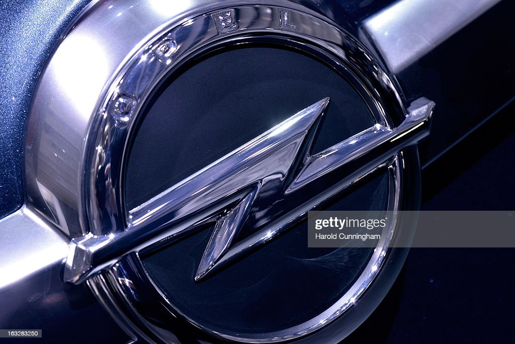The Opel logo is seen during the 83rd Geneva Motor Show on March 6 2013 in Geneva Switzerland Held annually with more than 130 product premiers from...