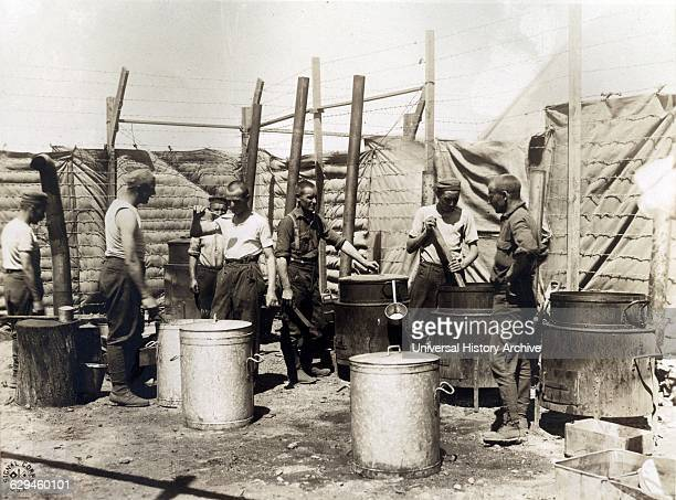 The open air kitchen used by German prisoners while a new mess hall and kitchen is being erected at Camp Miramas near Marseilles France Photographed...