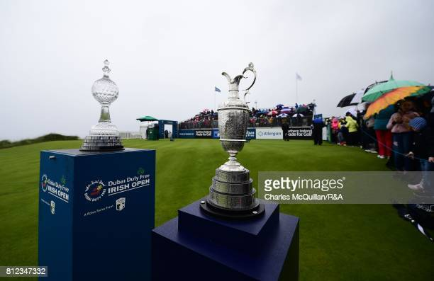 The Open Claret Jug sits on display along side the Irish Open trophy on the 1st tee during the final round of the Dubai Duty Free Irish Open hosted...