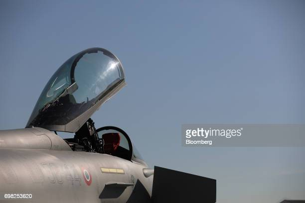 The open cockpit canopy of a Eurofighter Typhoon fighter jet manufactured by BAE Systems Plc sits on display during the 53rd International Paris Air...