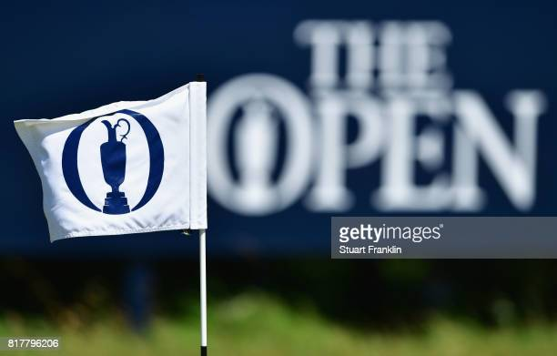 The Open flag and logo are seen during a practice round prior to the 146th Open Championship at Royal Birkdale on July 18 2017 in Southport England