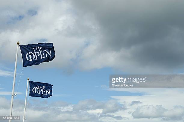 The Open flag is displayed during the second round of the 144th Open Championship at The Old Course on July 18 2015 in St Andrews Scotland