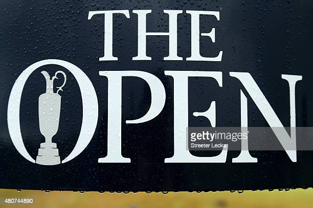 The Open logo is seen after rain ahead of the 144th Open Championship at The Old Course on July 15 2015 in St Andrews Scotland