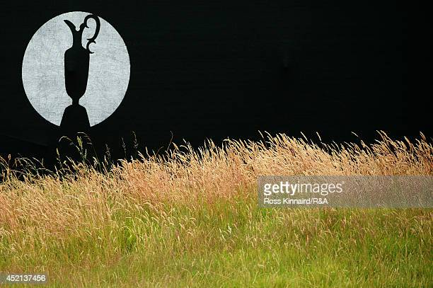 The Open logo is seen during a practice round prior to the start of the 143rd Open Championship at Royal Liverpool on July 14 2014 in Hoylake England