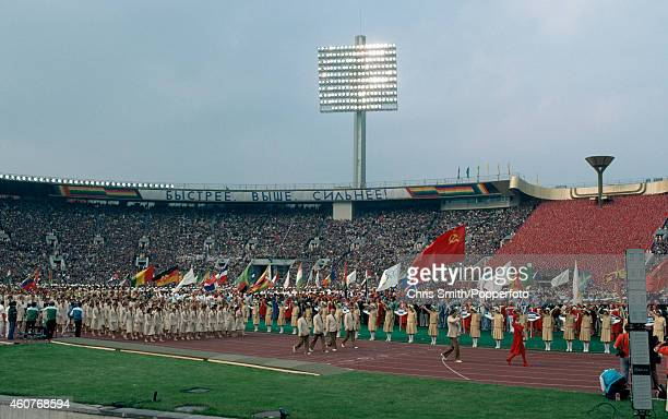 The Opening Ceremony at the start of the Summer Olympic Games in Moscow on 19th July 1980