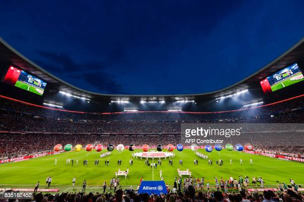 The opening ceremony takes place prior to the German First division Bundesliga football match FC Bayern Munich vs Bayer 04 Leverkusen in Munich...