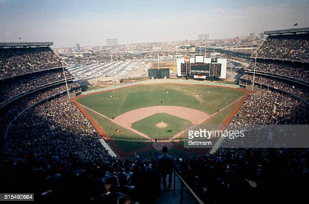 The opening day at Shea Stadium with crowd and field is shown