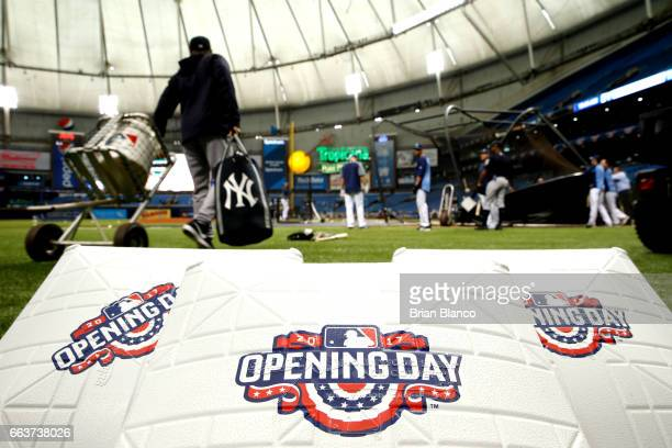 The Opening Day logo adorns bases prior to the start of a game between the Tampa Bay Rays and the New York Yankees on April 2 2017 at Tropicana Field...