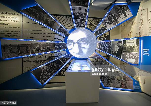 WARSAW POLAND OCTOBER 10 The opening of the Core Exhibition of Polin on October 10 2014 at Polin Museum of History in Warsaw Poland The museum looks...