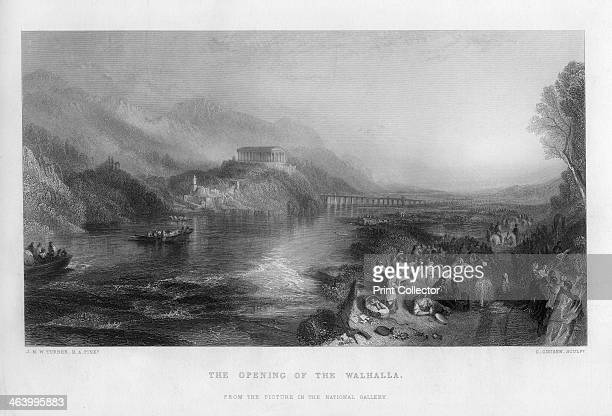 'The Opening of the Walhalla' 19th century A view of the River Danube near Regensburg Bavaria showing the Neoclassical Walhalla Temple on the...