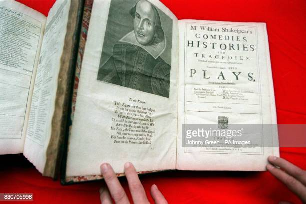 The opening pages of The First Folio dated 1623 which is part of William Shakespeare's Comedies Histories and Tragedies that is more commonly known...