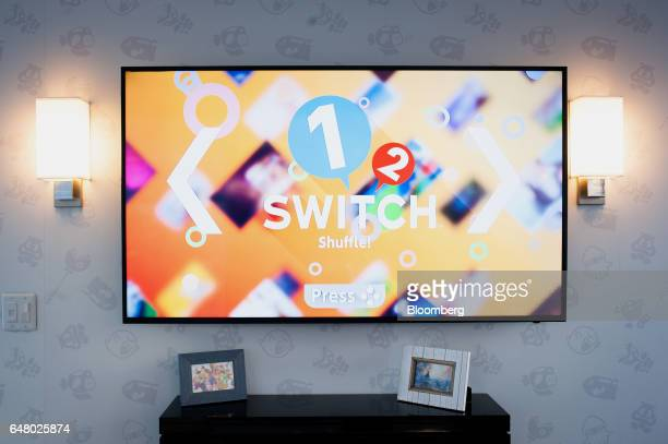 The opening screen of Nintendo Co Switch game console is displayed during the company's launch event in New York US on Friday March 3 2017 Nintendo...