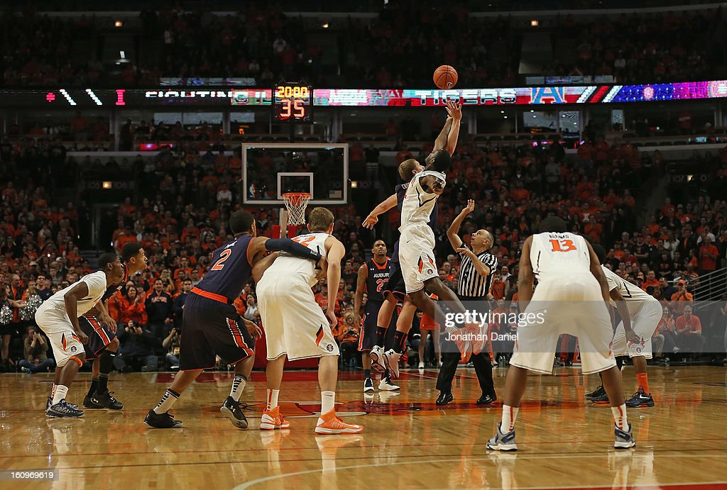 The opening tip is seen as the Illinois Fighting Illini take on the Auburn Tigers at United Center on December 29, 2012 in Chicago, Illinois. Illinois defeated Auburn 81-79.