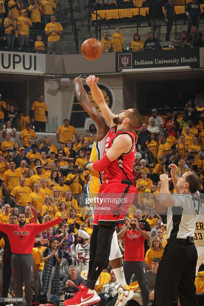 The opening tip off between the Indiana Pacers and the Toronto Raptors in Game Six of the Eastern Conference Quarterfinals during the 2016 NBA Playoffs on April 29, 2016 at Bankers Life Fieldhouse in Indianapolis, Indiana.