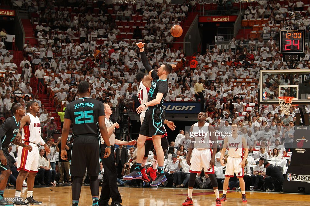 The opening tip off between the Miami Heat and the Charlotte Hornets in Game Seven of the Eastern Conference Quarterfinals during the 2016 NBA Playoffs on May 1, 2016 at American Airlines Arena in Miami, Florida.