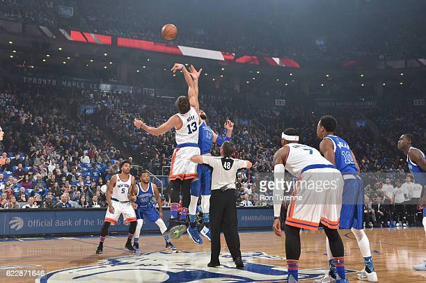 The opening tip off between the New York Knicks and the Toronto Raptors on November 12 2016 at the Air Canada Centre in Toronto Ontario Canada NOTE...