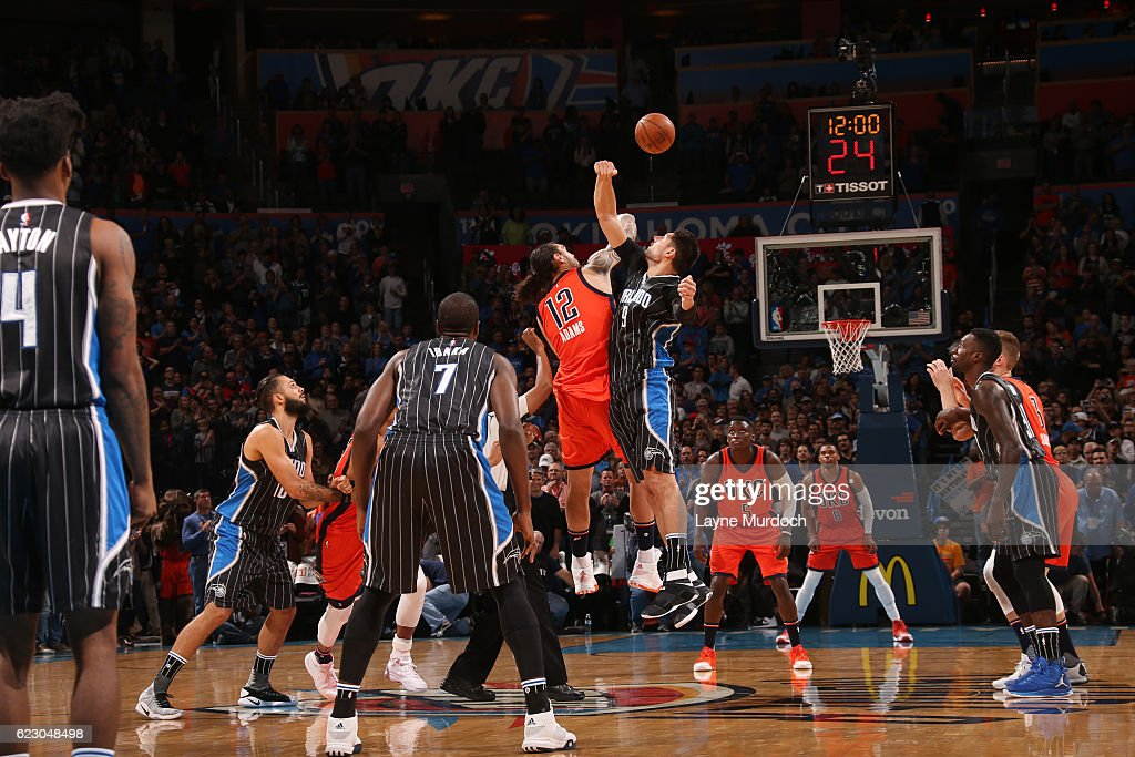The opening tip off between the Orlando Magic and the Oklahoma City Thunder on November 13, 2016 at Chesapeake Energy Arena in Oklahoma City, Oklahoma.