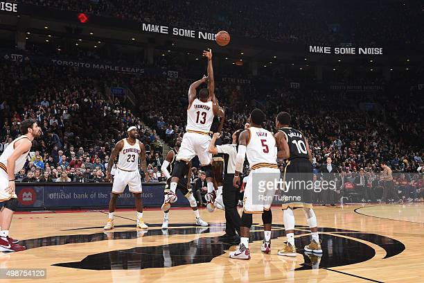 The opening tip off between the Toronto Raptors and the Cleveland Cavaliers on November 25 2015 at the Air Canada Centre in Toronto Ontario Canada...