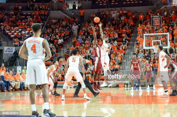 The opening tip off during 1st half action between the Clemson Tigers and the Florida State Seminoles on February 25 2017 at Littlejohn Coliseum in...