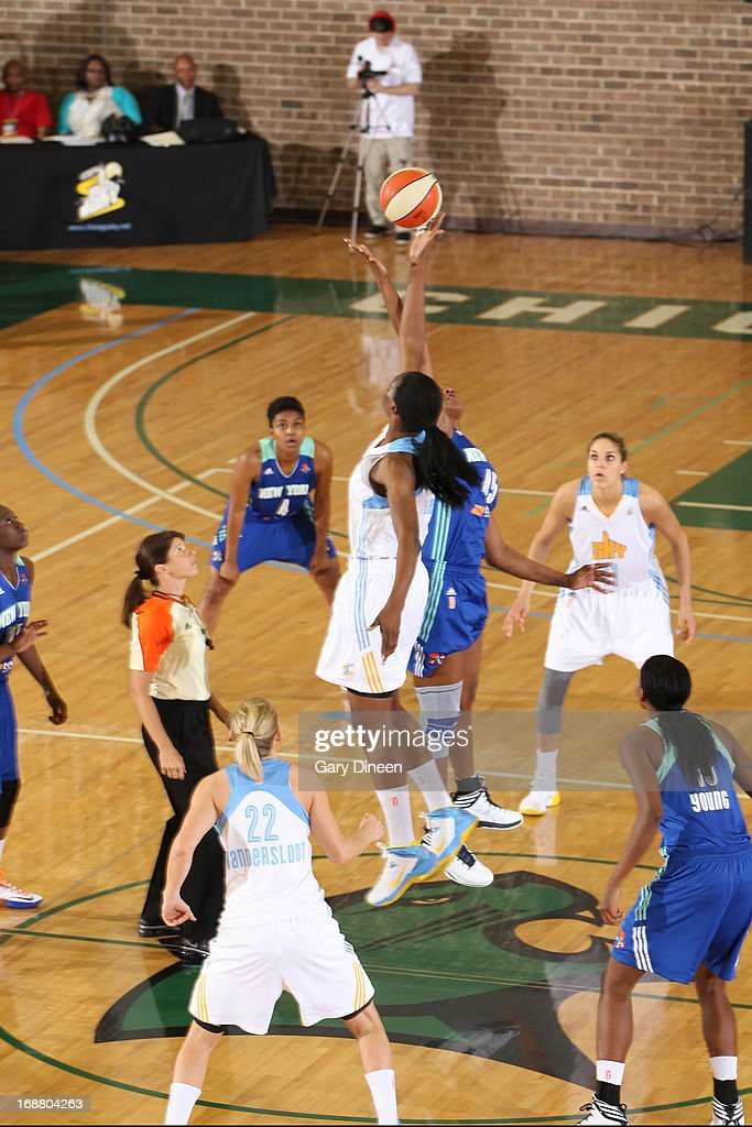 The opening tip off of the pre-season game between the Chicago Sky and New York Liberty on May 15, 2013 at the Jacoby D. Dickens Physical Education and Athletic Center on the campus of Chicago State University in Chicago, Illinois.