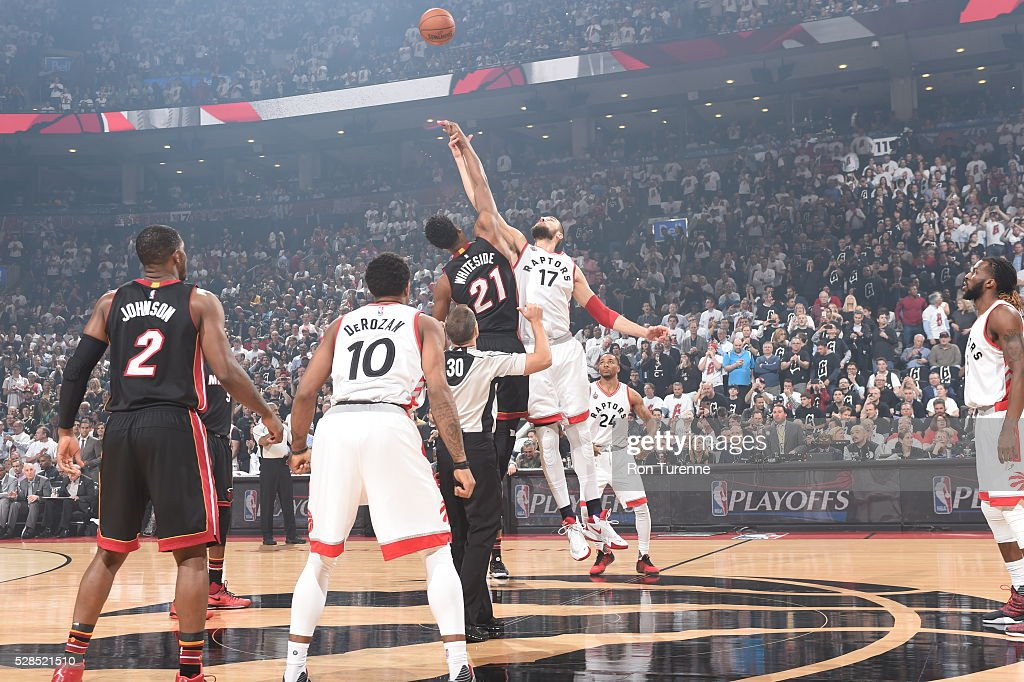 The opening tipoff between the Toronto Raptors and the Miami Heat in Game Two of the Eastern Conference Semifinals on May 5, 2016 at the Air Canada Centre in Toronto, Ontario, Canada.