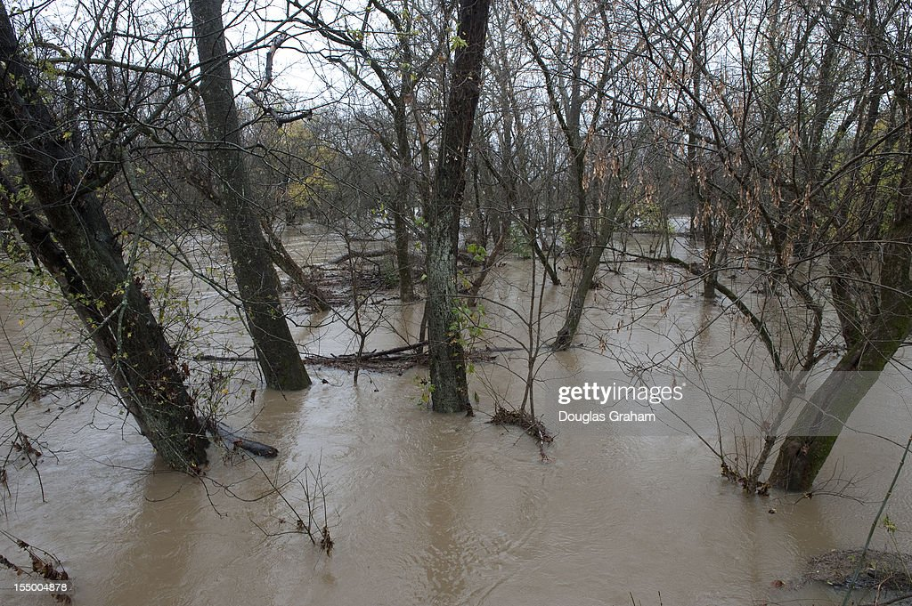 The Opequon Creek in Clarke County Virginia, a 64.4-mile-long tributary stream of the Potomac River was well over its banks after all the rain from Hurricane Sandy on Tuesday, Oct. 30, 2012.